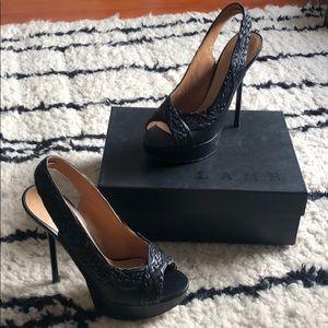 Vintage L.A.M.B. Black Peep-toe Sling-backs